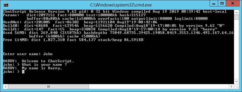 ChatScript console